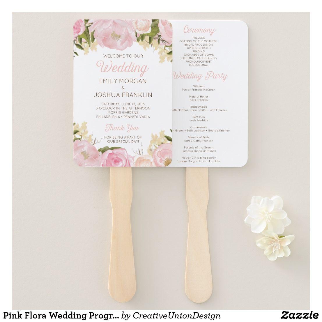 Pink flora wedding program fan in outdoor wedding ideas