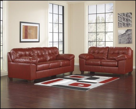 Ashley Furniture Red Leather sofa Couch  Sofa Gallery Pinterest