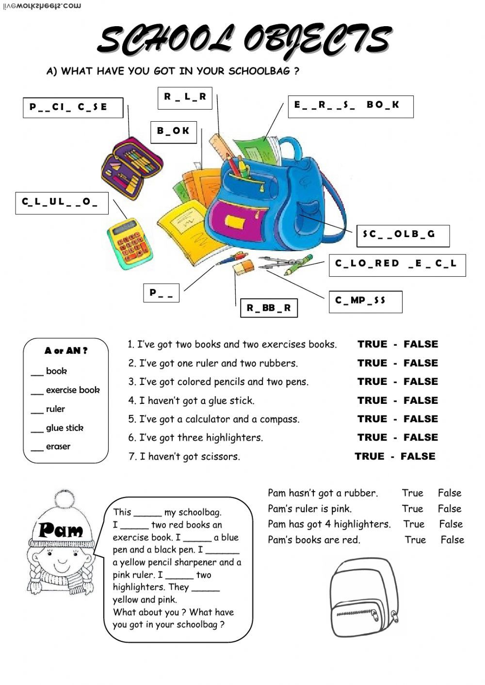 school objects interactive and downloadable worksheet. You