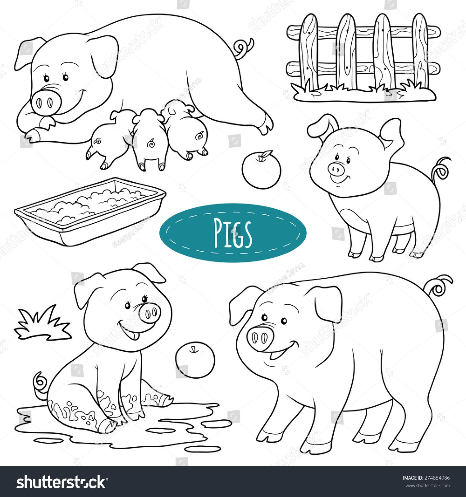 Stock Vector Set Of Cute Farm Animals And Objects Vector