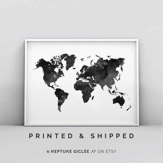 Black And White World Map World Map Wall Art World Map Poster