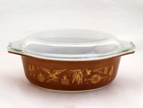 On Sale Vintage Kitchen Brown Oval Glass Lid for Casserole or Baking Dishes Replacement Cover