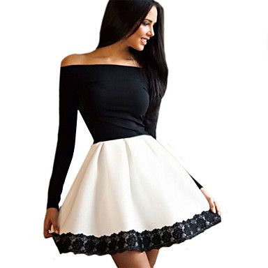 Women\'s Off The Shoulder Off Shoulder Slim Sexy Lace Spliced Color ...