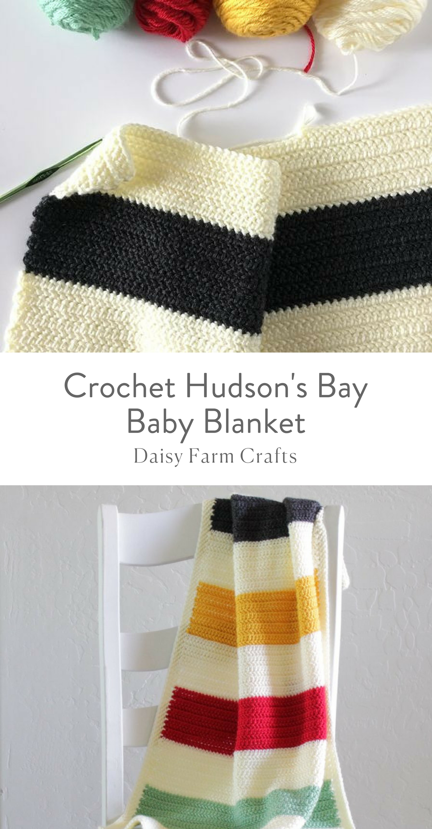 Free Pattern - Crochet Hudson\'s Bay Baby Blanket | made with wool ...