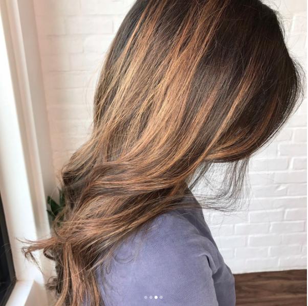 Brunette + honey ombré. Hair by SALON by milk + honey stylist, Brandi S. #brunette #ombre #honeyhair #milkhoneyhair #haircolor #highlights