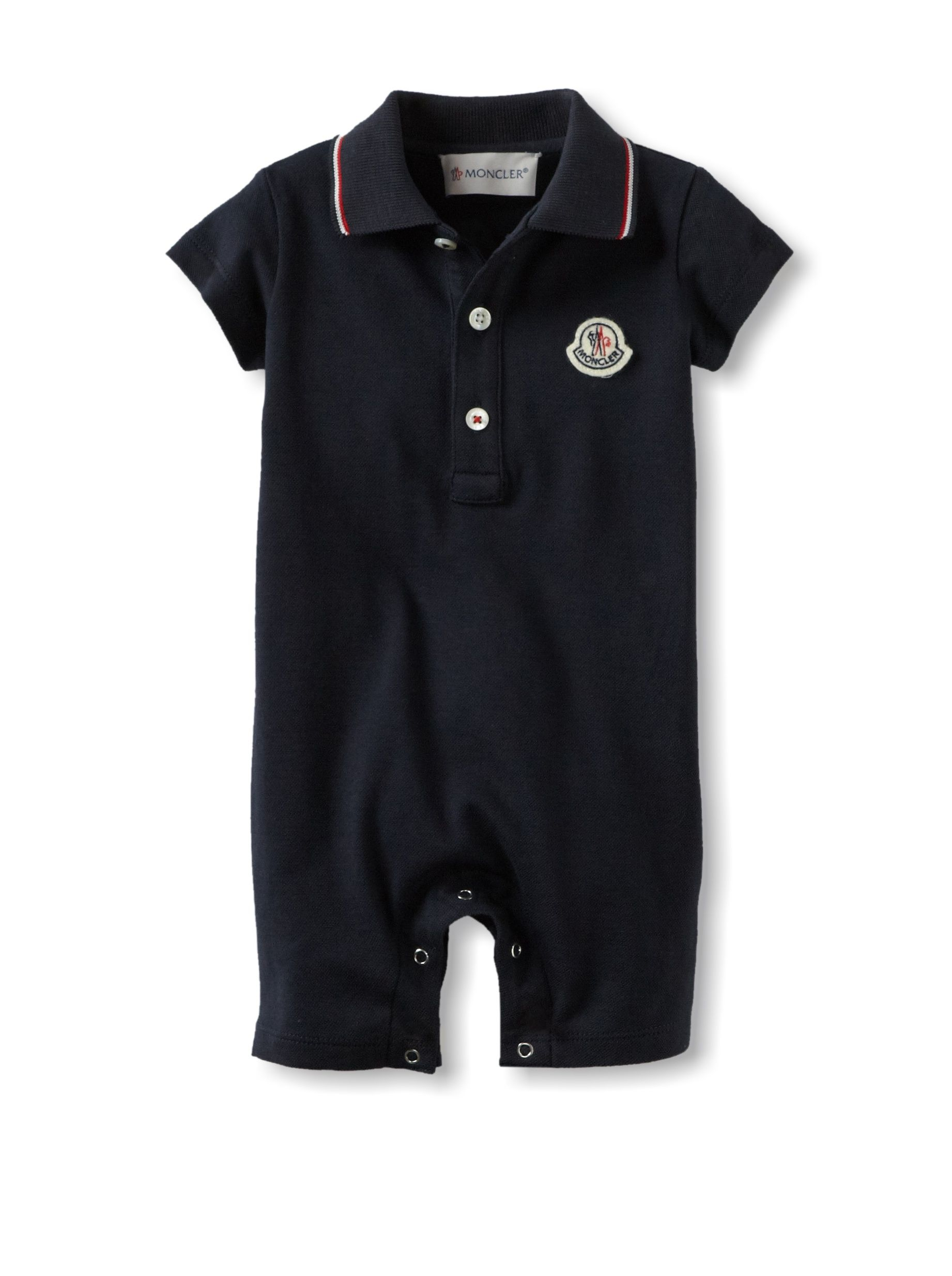 Moncler Kid's Polo Romper (Blue) Lightweight pique knit, polo-style collar,