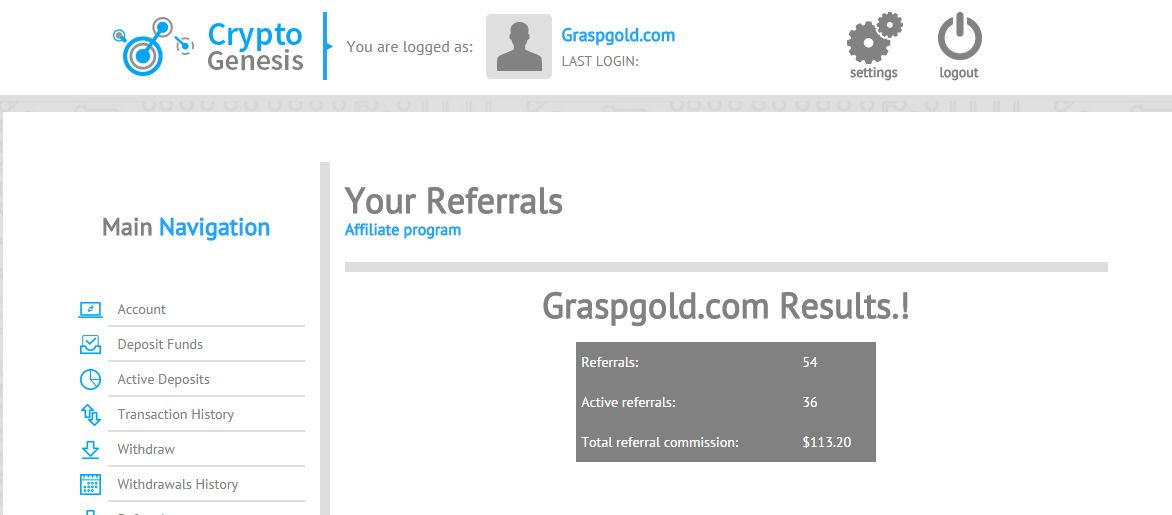 CRYPTO GENESIS Results with VIP Investor, Referrals user 54, Total