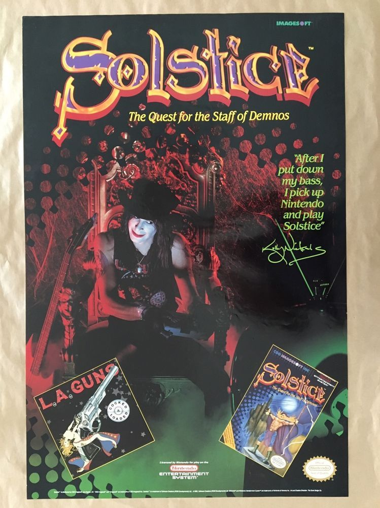 L.A. Guns Kelly Nickels Nintendo SOLSTICE Quest for The Staff of Demons Poster  | eBay