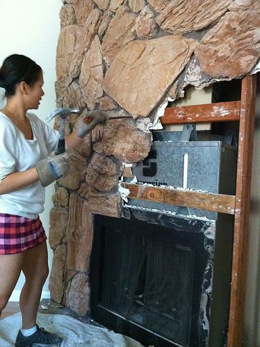 How to get rid of ugly on a fireplace. | Home Improvement ...
