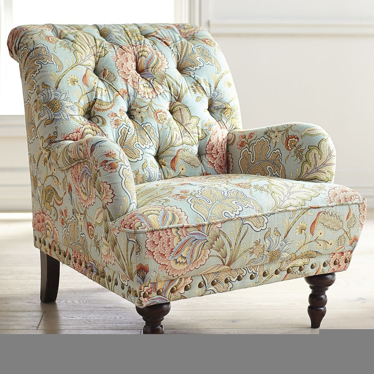 Chas Blue Floral Armchair | Floral armchair, Upholstered ...