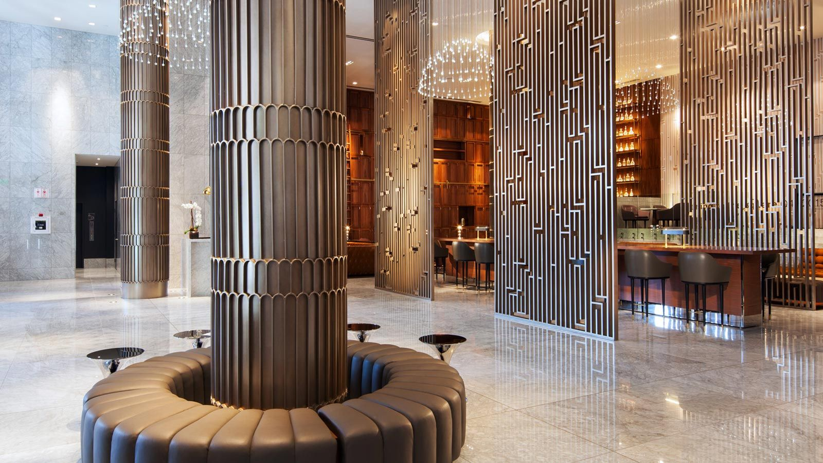 Sheraton grand los angeles lobby entrance column in 2019 for Design consultant los angeles