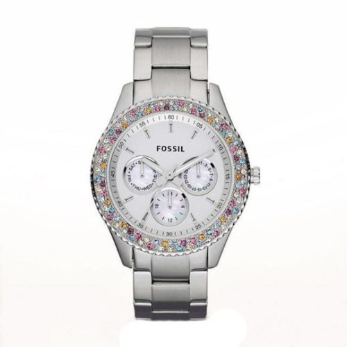 Fossil Women's Stella Tone Silver Stainless Steel Glitz Watch Silver Dial ES3049