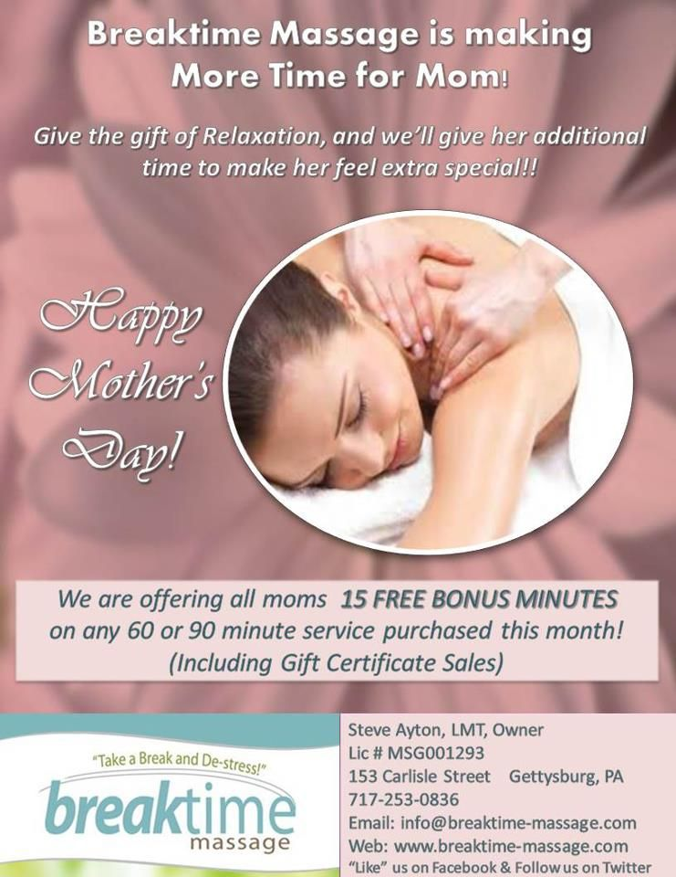 Breaktime Massage  May  Promotion  MotherS Day  Bonus
