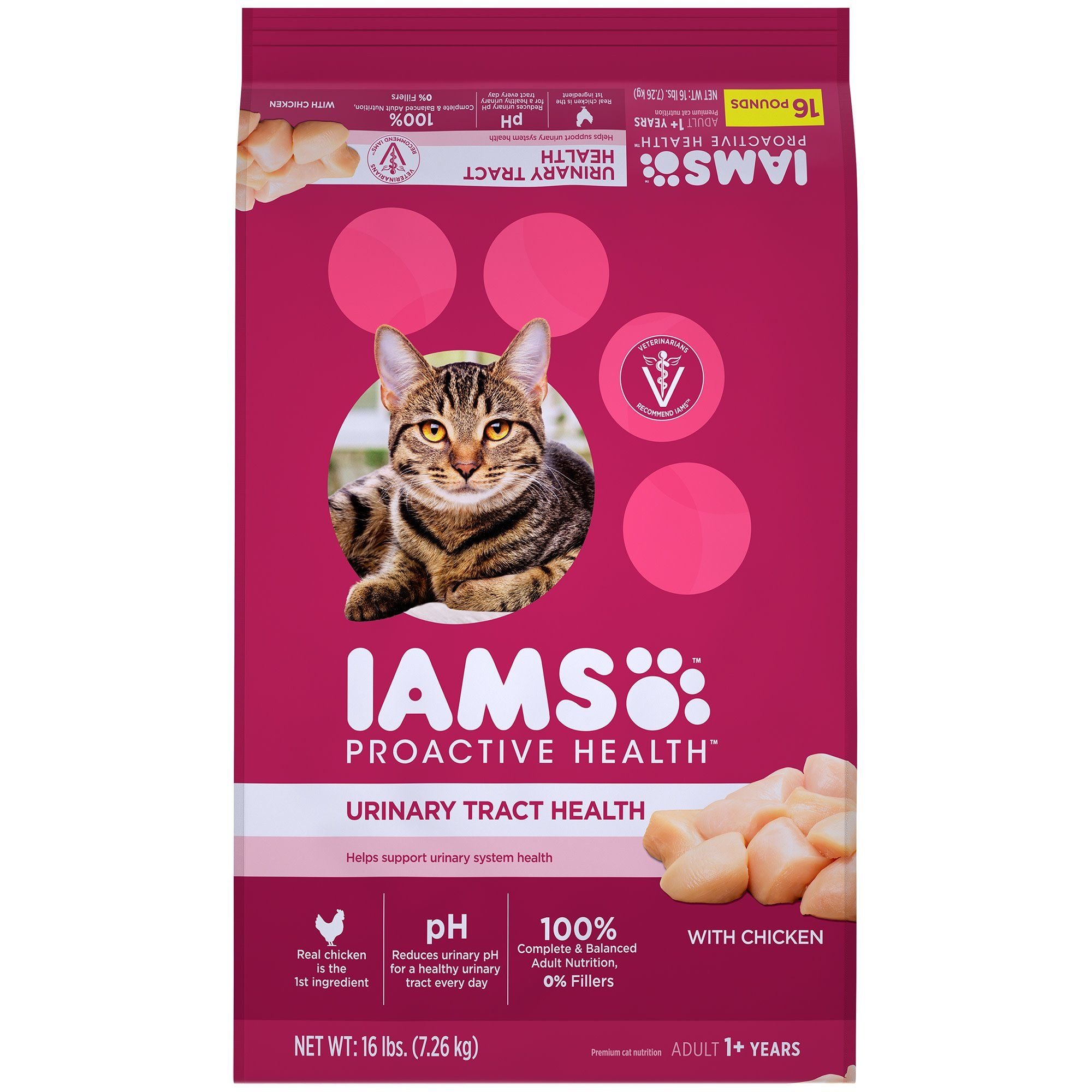 Iams Proactive Health Adult Urinary Tract Health With Chicken Dry Cat Food 16 Lbs Dry Cat Food Cat Food Cat Urine