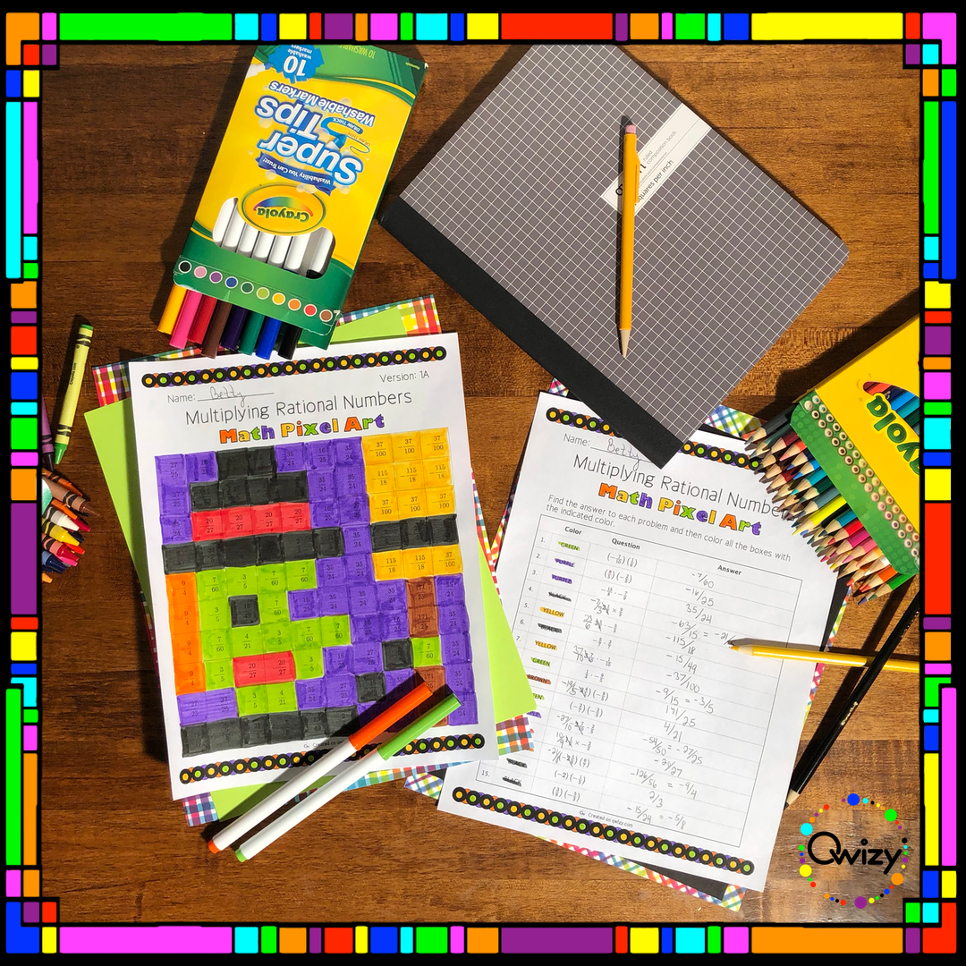 Halloween Math Multiplying Rational Numbers Pixel Art Coloring Activity Helps Students Review The Multiplication Of Pos Creative Math Halloween Math Pixel Art [ 1080 x 1080 Pixel ]
