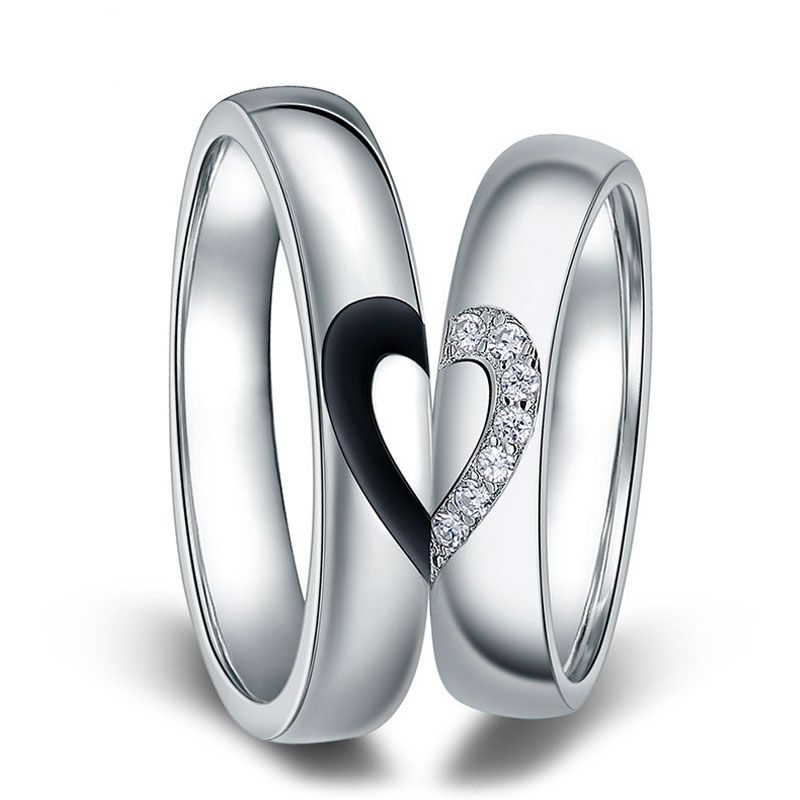 Black White Couple Heart Wedding Rings Matching couples jewelry