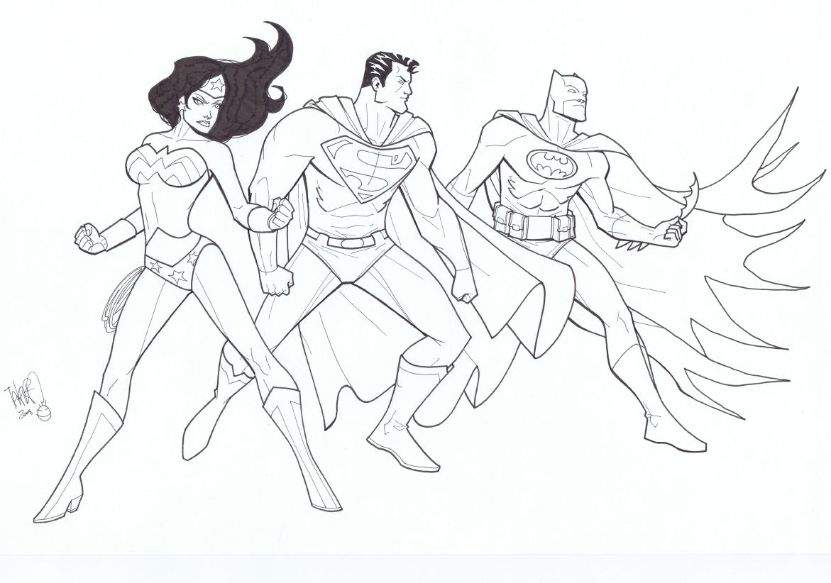 The Trinity Superman Batman And Wonder Woman By Marcio Takara Comic Art Coloring Pages Comic Art Coloring Pages For Kids