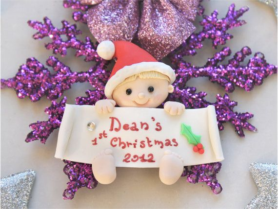 Personalized baby's first Christmas ornament  by PassionArte, $25.00