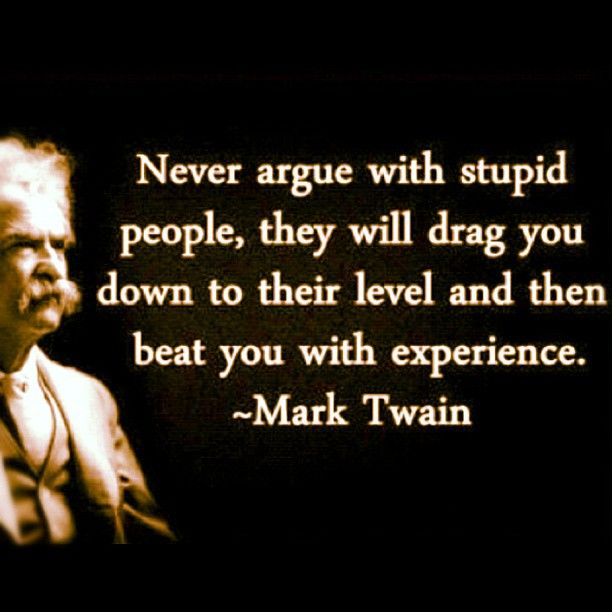 Inspirational Quote Of The Day Mark Twain Never Argue With Stupid
