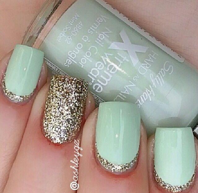 Mint and gold nails | Uñas | Pinterest | Menta, Uñas doradas y Uñas