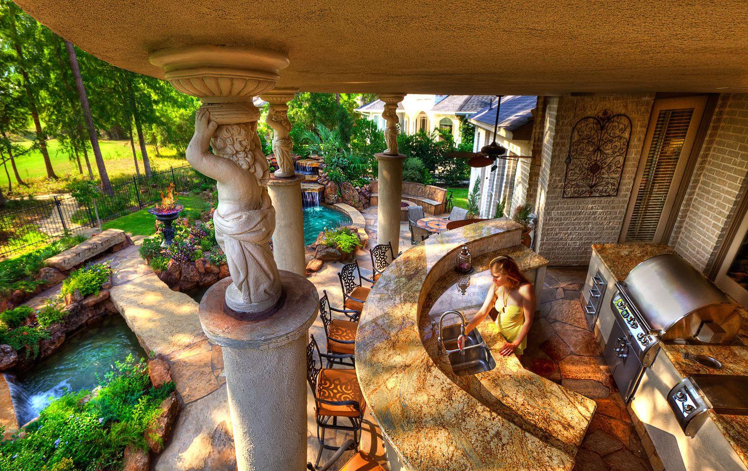 outdoors kitchen granite sinks backyard luxury kitche
