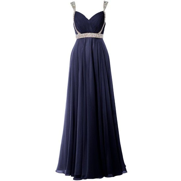 MACloth Women V Neck Lace Chiffon Long Prom Dresses Formal Party Evening Gown (44, Champagne)