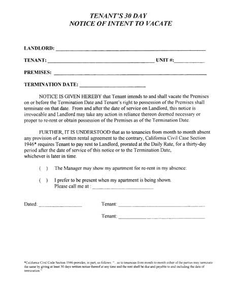 Printable Sample 30 Day Notice To Vacate Template Form | Real