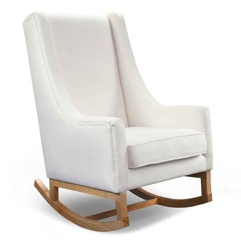 Hobbe London Rocking Chair   Bone With Natural Stained Timber Legs