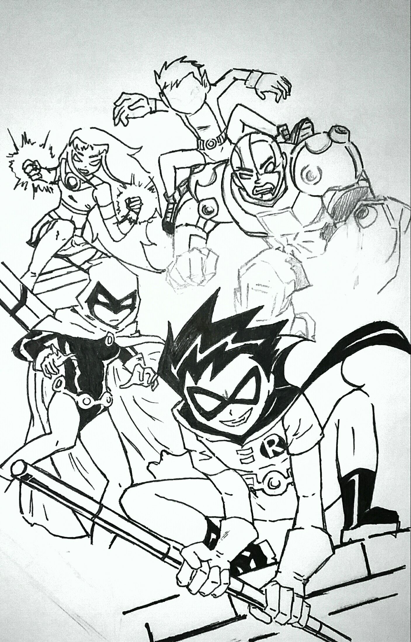 Okay so im not done. I just thought i post the draft because as you can see, its starting to look pretty sweet. As you may also be able to tell... I have an unhealthy obsession with the titans and now that i can draw them better, though this may be the last time i draw them together because it's so hard.  So not my pic just a redraw credits to original artist. I think it might be a comic cover but idk.