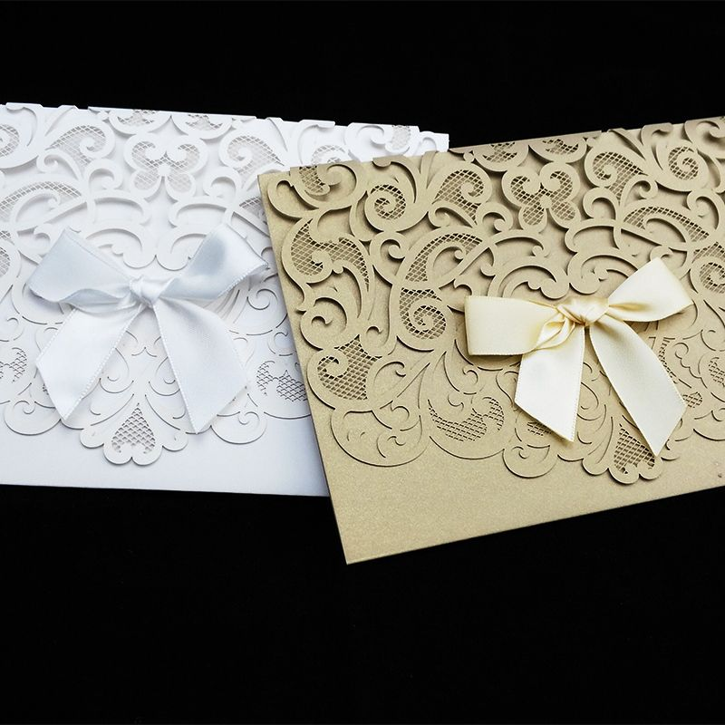 10 Pcs/Lot New Arrival Horizontal Laser Cut Wedding Invitation With ...