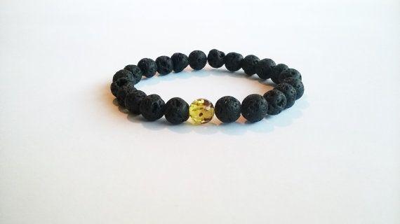 Black Lava Rock and Amber Mens Bracelet, Chakra Bracelet, Gift For Him, Base Chakra Bracelet, Mala Prayer Beads Bracelet, Stretch Bracelet