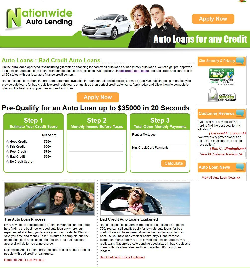 No Credit Auto Loans >> Nationwideautolending Com Provides Auto Loans With Bad