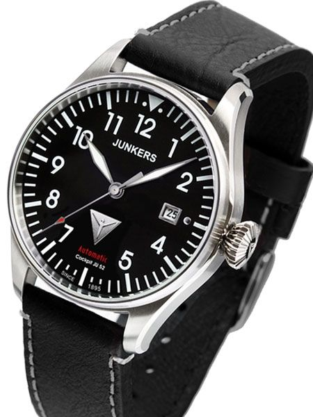 Junkers Cockpit Series Automatic Watch with Diamond Cut Crown  6150 ... 6fc1e415cfc