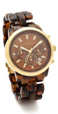 Michael Kors Leather Slim Runway Watch | SHOPBOP