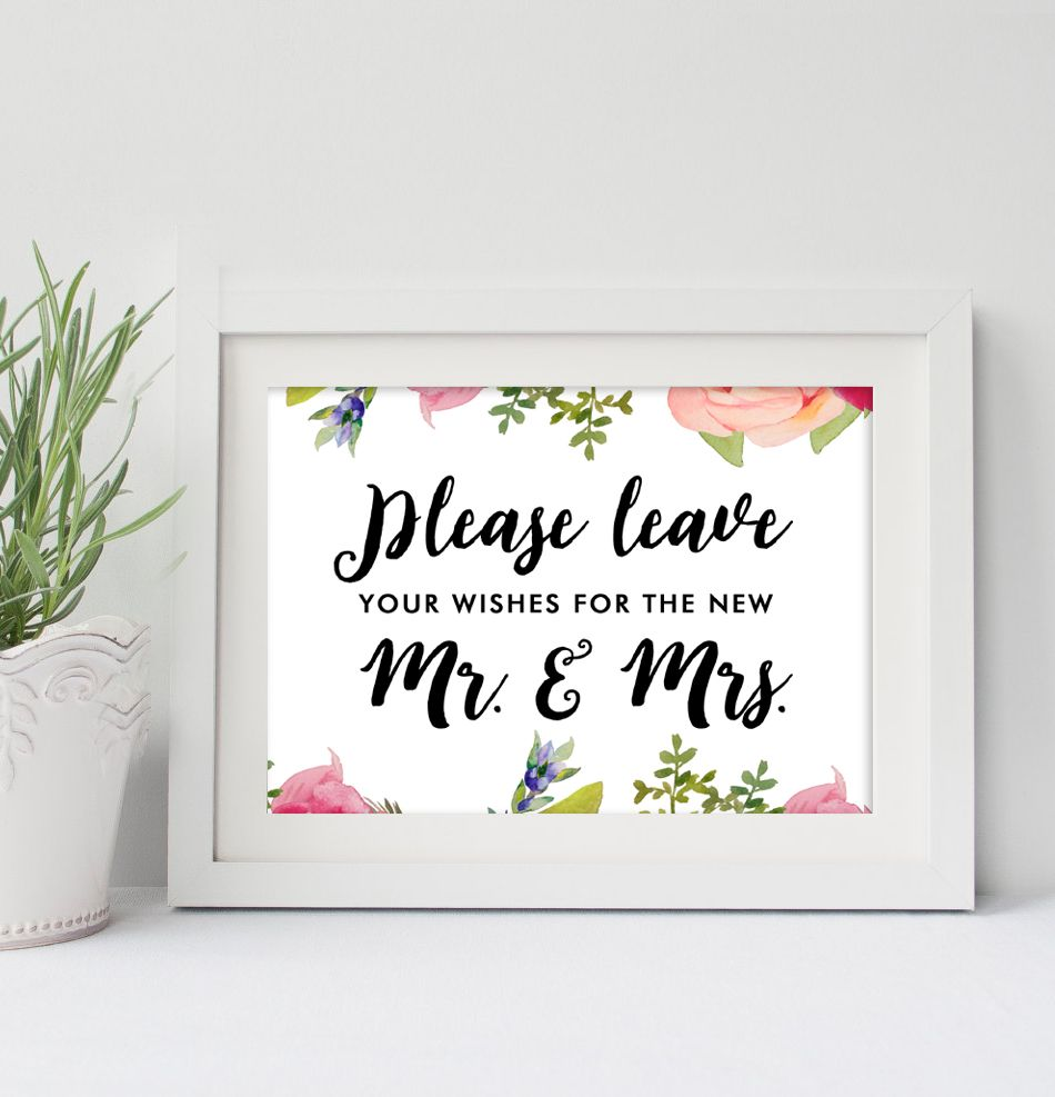 Wedding Sign  5x7   Please Leave Your Wishes Pretty Watercolor Flowers    Instant Download Printable