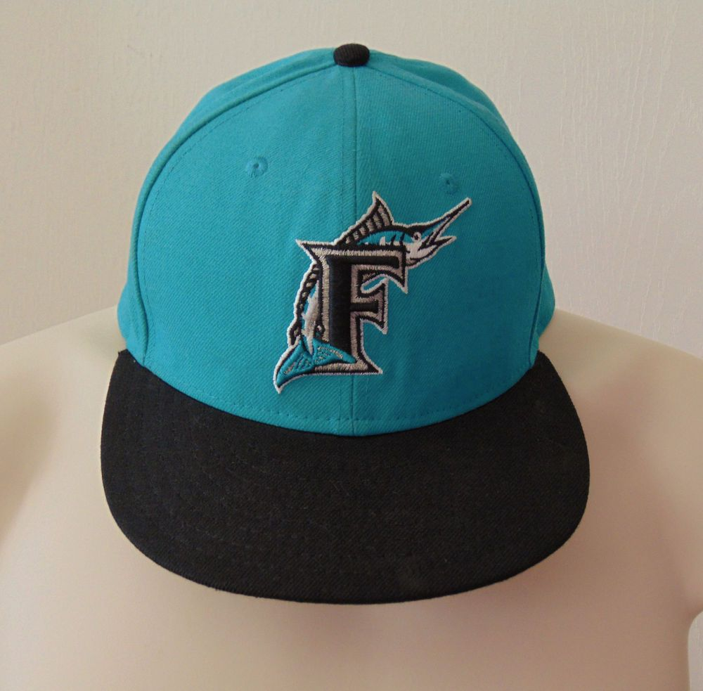 c4c190057cc Florida Marlins Teal   Black Old Logo New Era 59Fifty Baseball Cap Fitted 7  1 8  NewEra  FloridaMarlins