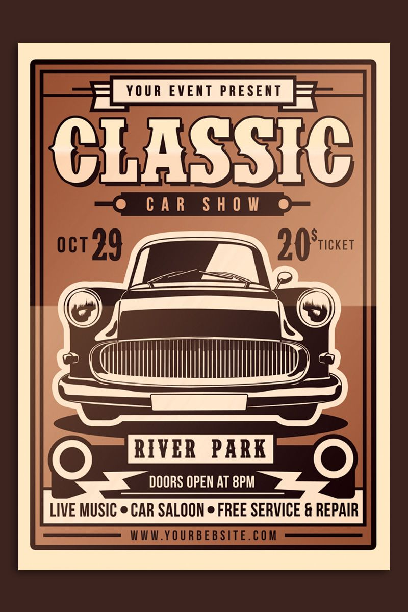 Classic Car Show Flyer Corporate Identity Template #97076