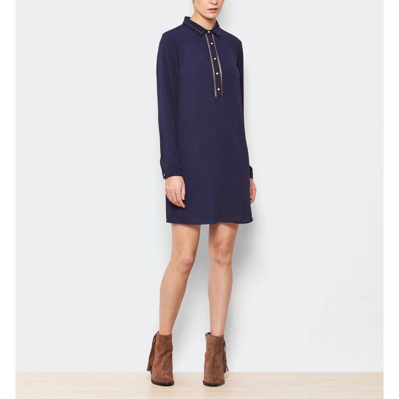 Combinar vestido camisero azul marino