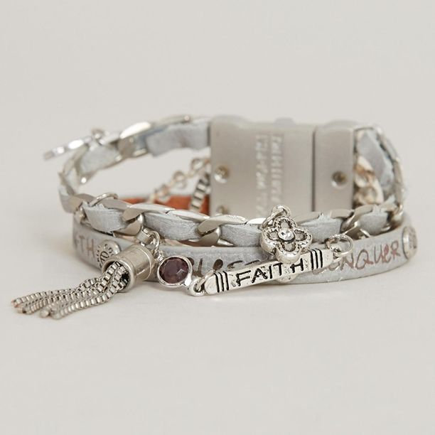 Nevada Silver  Wonder Quad Peaceful Cuff - Compliment any outfit with this bracelet that features a matte silver finish alongside an ornate arrangement of metal chains and leather straps. #fashion #boutique #accessorize #fun