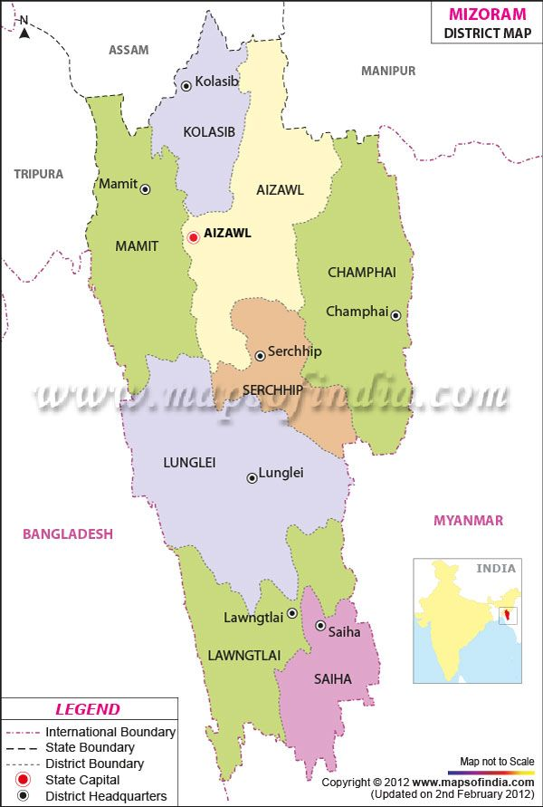 District Map Of Mizoram District Maps Pinterest India And Asia - Japan map in hindi