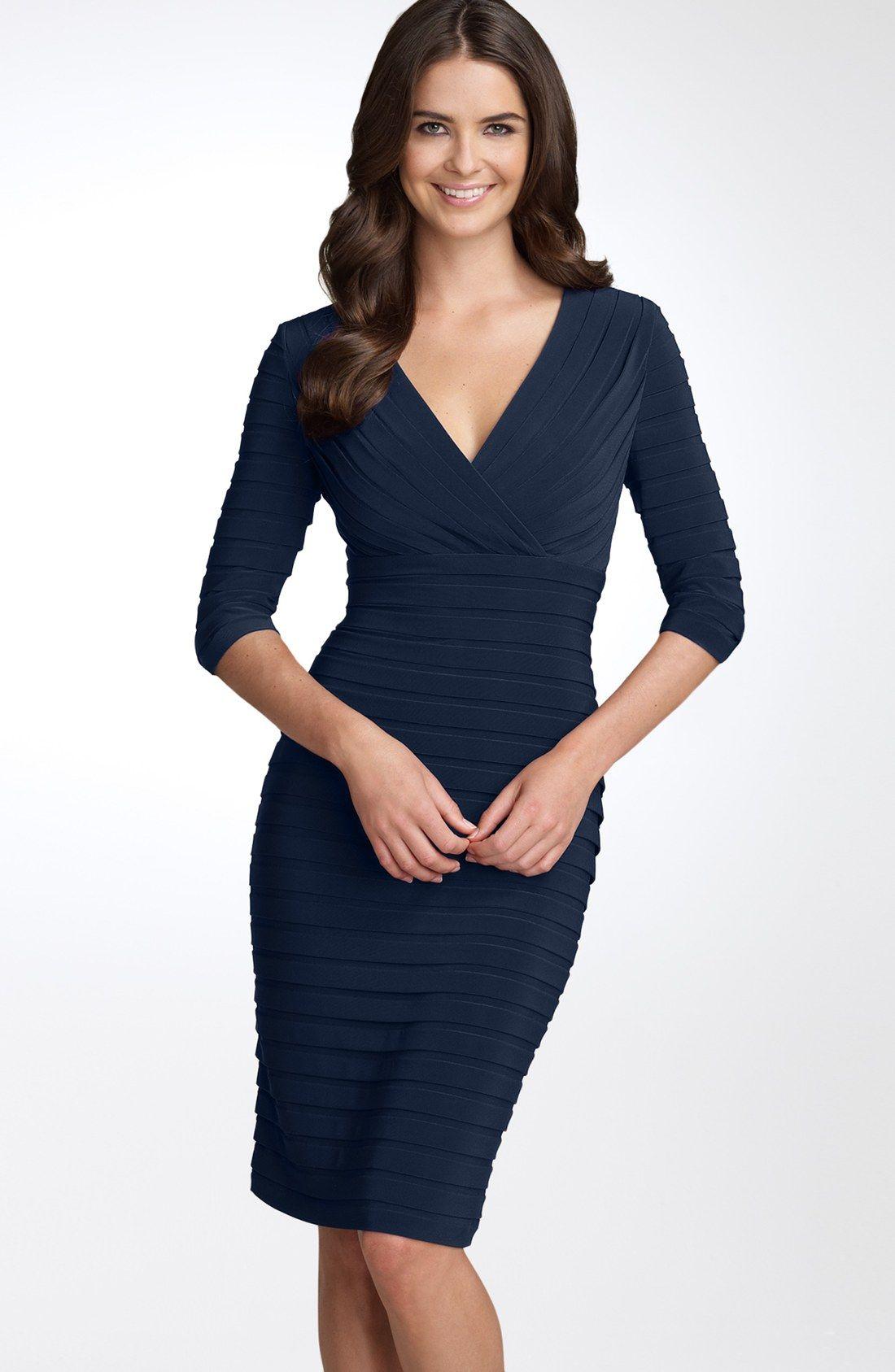 Adrianna Papell Pleated Jersey Sheath Dress (Regular & Petite ...