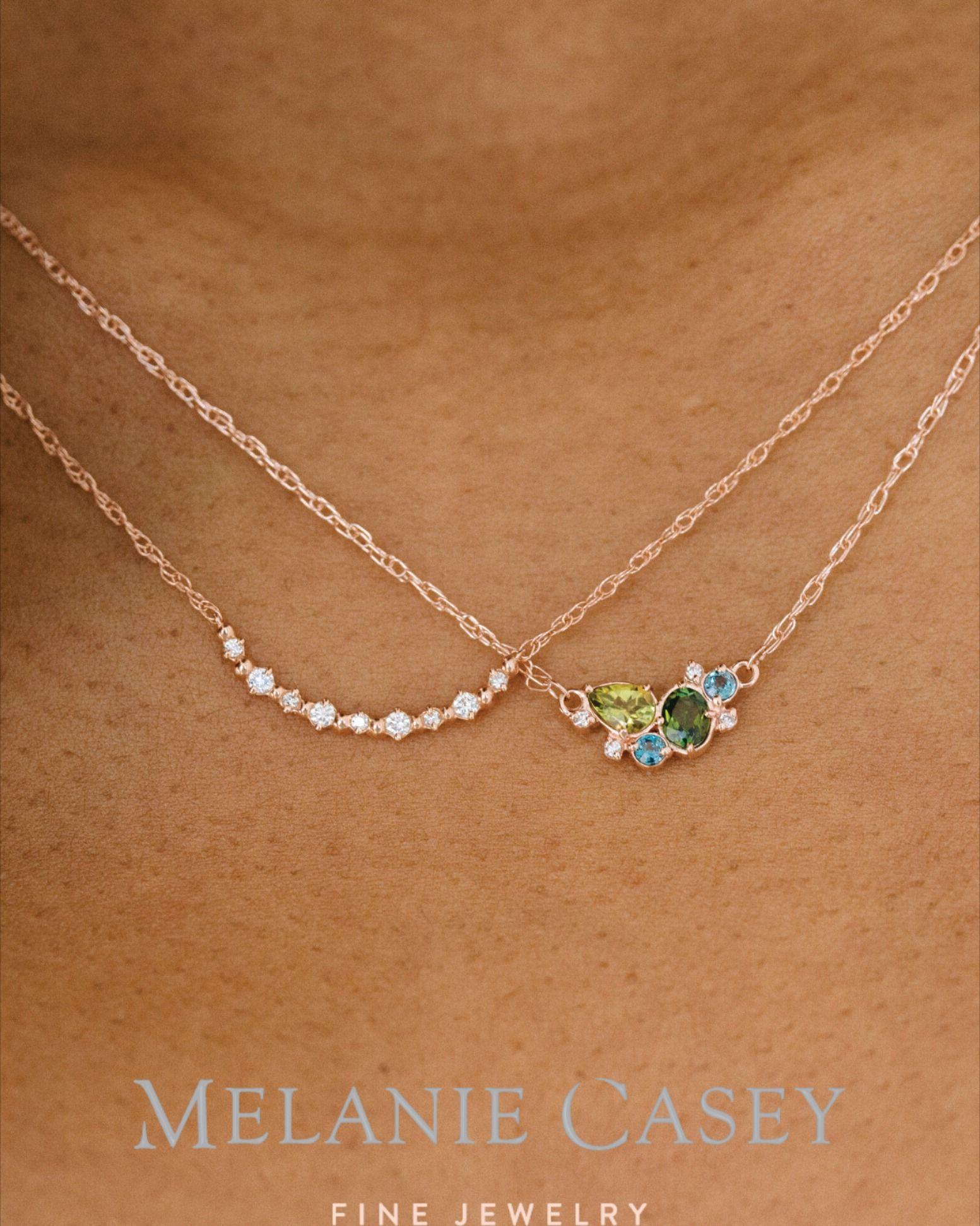 minimalistic necklace dainty gold necklace 14K rose gold birthstone necklace Wedding rose gold birthday necklace gold diamond necklace