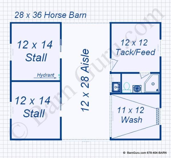 2 Stall Monitor Style Horse Barn Design Floor Plan Barns