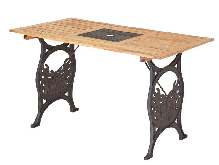 H D Bar Shield Flames Picnic Table