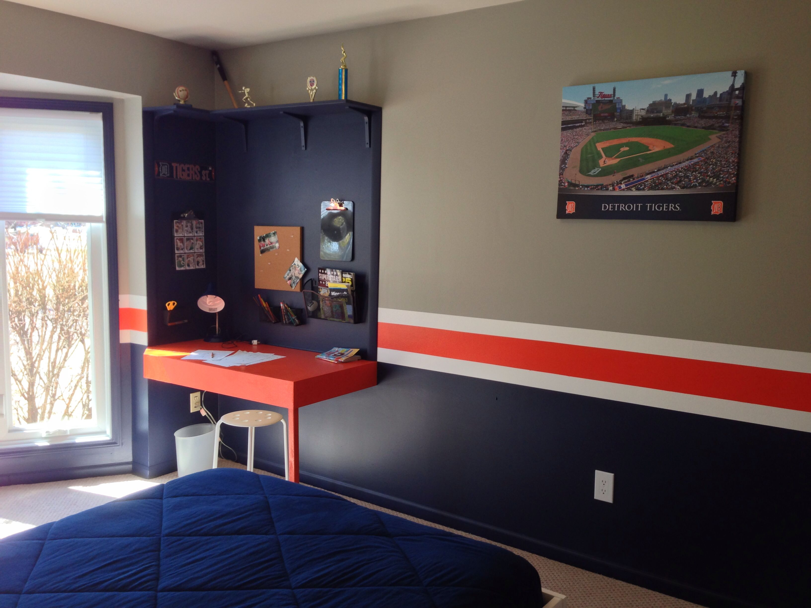 Desk and wall with canvas print of Comerica Park