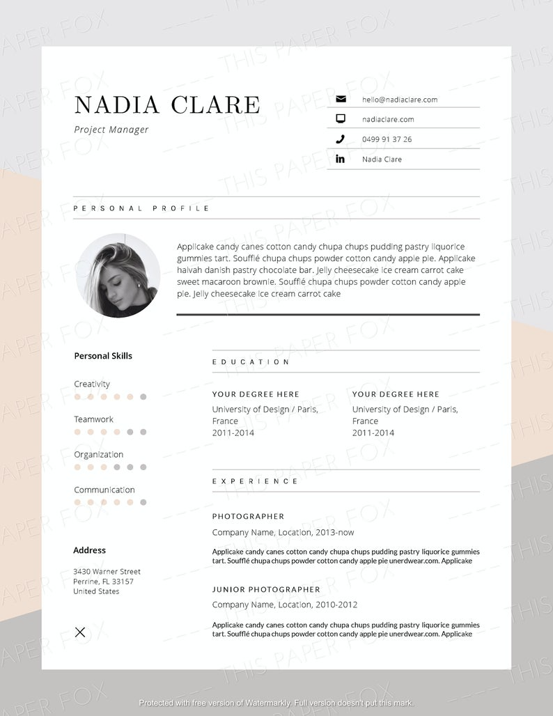 Creative Resume Cover Letter Stylish Word Resume Template Etsy Cover Letter For Resume Resume Template Etsy Creative Resume