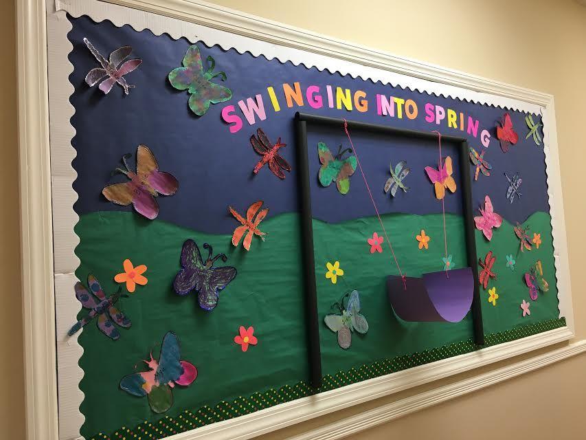Preschool Spring Bulletin Board #spring #bulletinboard #swing