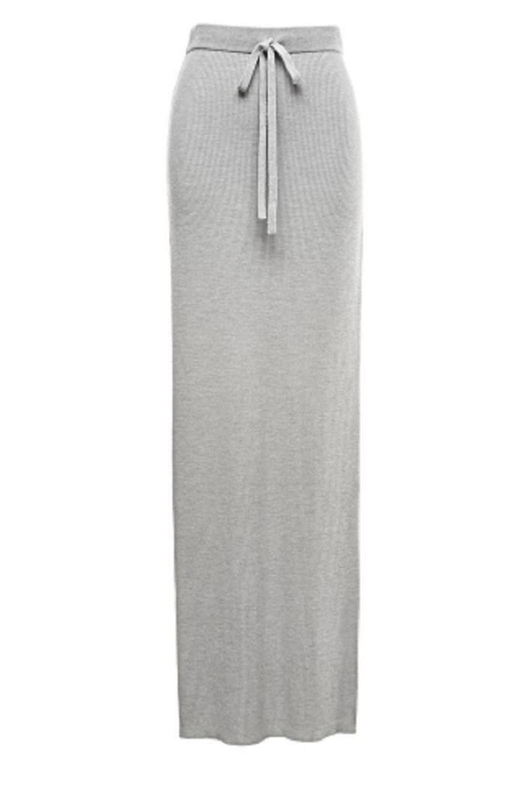 9560a5e883 This T by Alexander Wang ribbed knit long skirt in heather grey has an  elasticized waistband