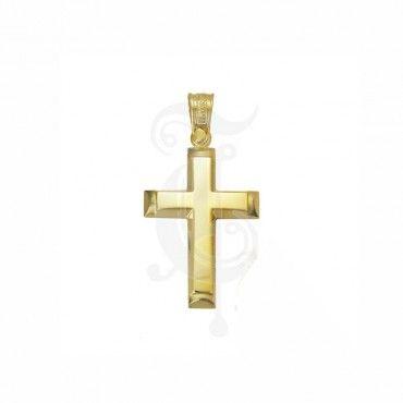 Χρυσός βαπτιστικός σταυρός για αγόρι ΤΡΙΑΝΤΟΣ 14 καρατίων επίπεδος  amp   γυαλισμένος με ματ άκρα  3d06f45b40a