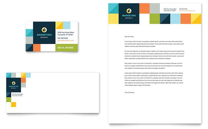 Advertising Company Business Card And Letterhead Design Template By